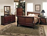 Beautiful Sleigh Bed 4PC California King Size Bedroom Group in Oak Finish