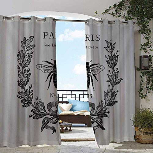 Linhomedecor Balcony Waterproof Curtains Rue Lafayette Bee Multicolor Porch Grommet Party Curtains 120 by 84 inch ()