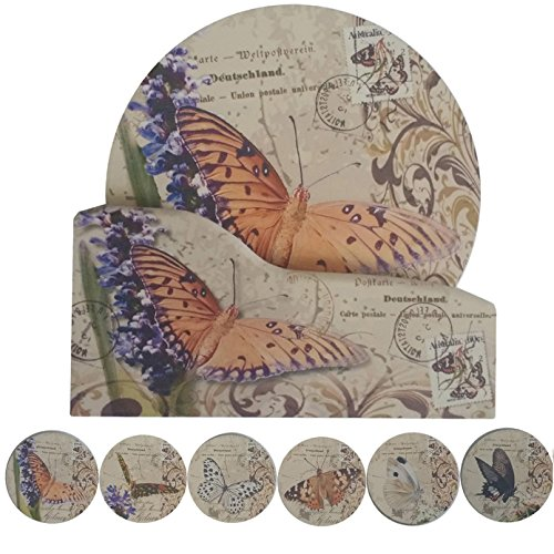 """Coralpearl Cork Absorbent Coasters with Holder Decorative Round Heat Resistant Pad Mats Spoon Rest Trivet Set Table Runner Kit Large for 6 Drinks Hot Pans,Pots,Stovetop,Counter (4.3"""" NO.2-Butterflies)"""
