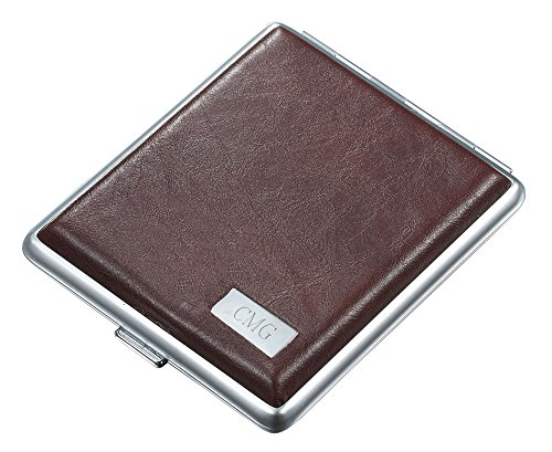 Personalized Visol Gerald Brown Leather Double Sided Cigarette Case with Free Engraving