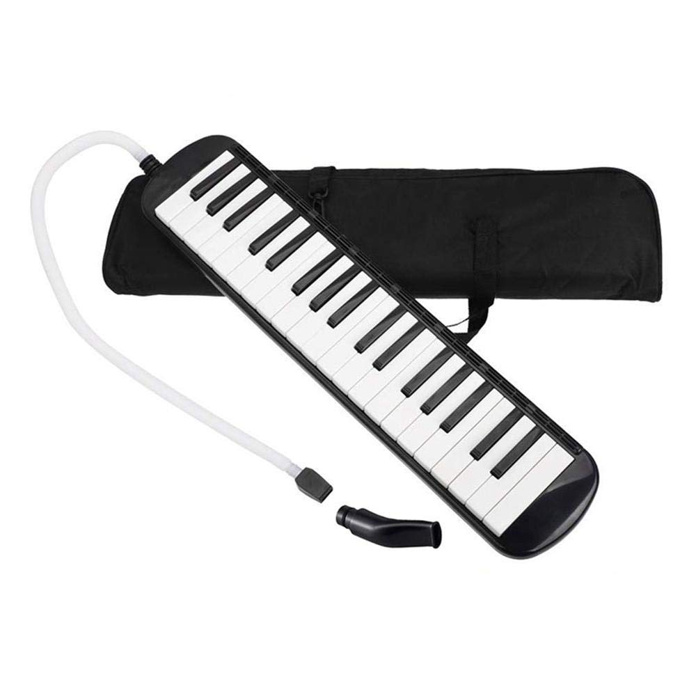 AOLVO 37 Key Melodica Instrument with Mouthpiece Tube Air Piano Keyboard for Music Lovers Beginners Gift with Carrying Bag [New Version] (Black)