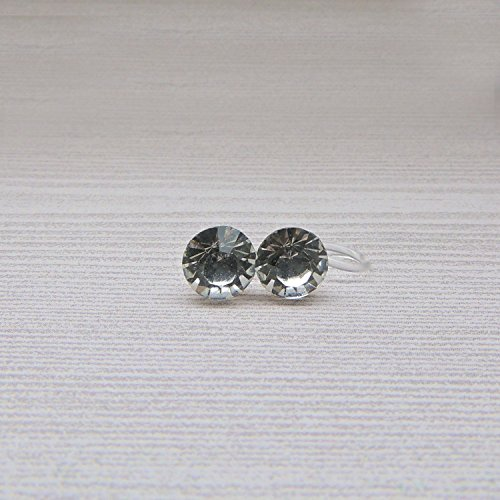 Invisible Clip On 8mm Round Glass Rhinestones Earrings for Non-Pierced Ears, Clear ()