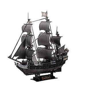 DIY 3D Puzzle Simulation Toy Black Pirate Ship Assembly Model, Queen Anne's Revenge Queen Anne's Revenge TEX