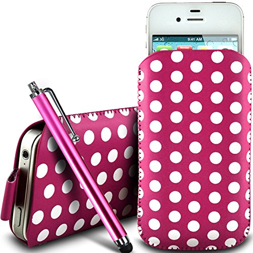N4U Online - Apple Iphone 5S protection en cuir PU conception Polka Pull Tab cordon glisser Housse Etui Quick Release et grandes Stylet - rose