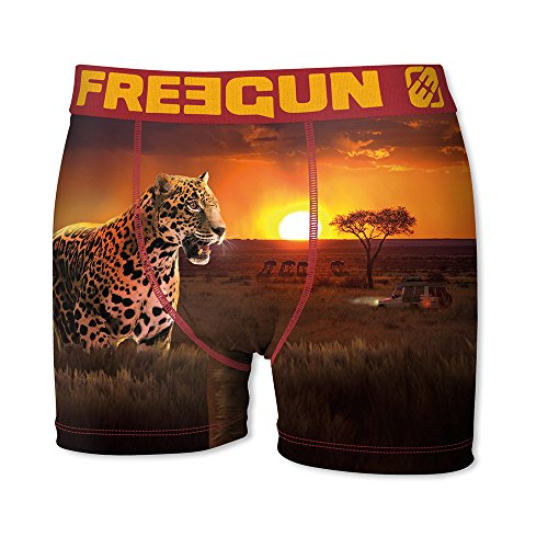 FREEGUN Boxer Men P44 Africa Theme (L, Leopard) by FREEGUN