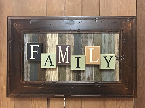 FAMILY Wall Sign BLOCK Reclaimed Wall Pallet Framed 23