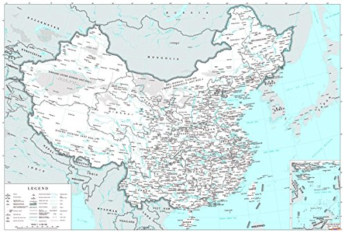 Gifts Delight Laminated 35x24 Poster: Political Map - Large Political and Administrative map of China with Cities and Other Marks in English Vidiani