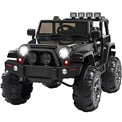Best Choice Products 12V Ride On Car Truck W/ Remote Control, 3 Speeds, Spring Suspension, LED Light Black