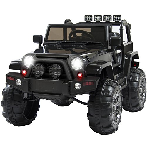 Best Choice Products 12V Ride On Car Truck w/ Remote Control, 3 Speeds, Spring Suspension, LED Light Black (Battery Cars Powered Volt 12 Kids)