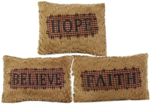 Craft Outlet Chenille Believe Hope Faith Pillow Set of 3, 12-Inch by Craft Outlet Inc