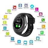 Smart Watch,AMTER Bluetooth Round Wristwatch with Camera and SD/SIM Card Slot Compatible with Samsung LG Sony HTC HUAWEI Google Xiaomi Android Smart Phones for Women Men Kids Boys Girls (Black)