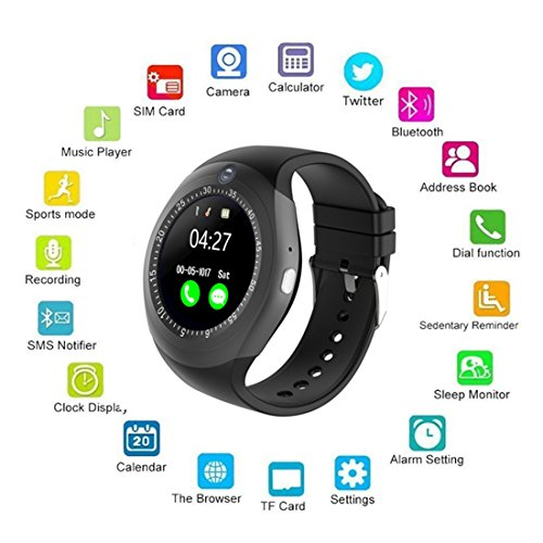 Smart Watch,AMTER Bluetooth Round Wristwatch with Camera and SD/SIM Card Slot Compatible with Samsung LG Sony HTC HUAWEI Google Xiaomi Android Smart Phones for Women Men Kids Boys Girls (Black) by Amter