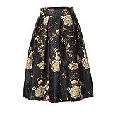 Waboats Women's Printed Pleated Flared Midi Skirt