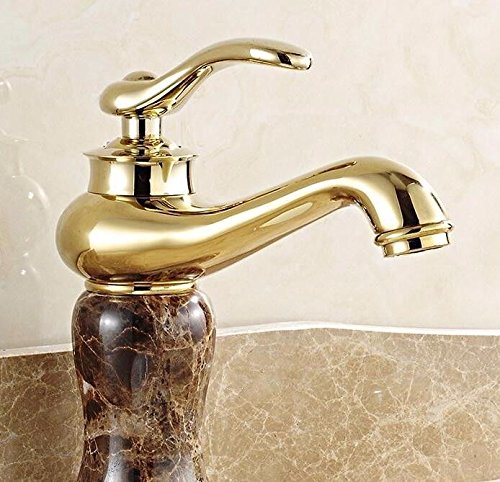 C Hlluya Professional Sink Mixer Tap Kitchen Faucet All Copper Anti-old faucet hot and cold wash basin mixer console basin marble green jade gold faucet,Q
