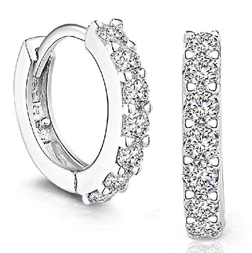 POQOQ Stud Earrings for Women Sterling Silver Rhinestones Hoop Diamond A ()