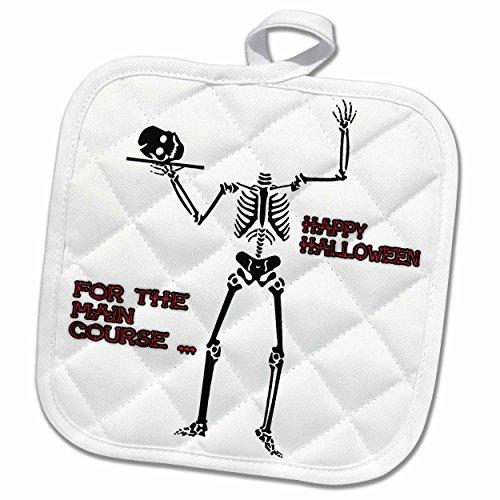 3dRose Sandy Mertens Halloween Designs - Skeleton Head for Main Course - 8x8 Potholder (Halloween Main Course Dishes)