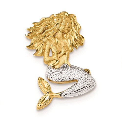 14K Two Tone Gold Diamond-Cut Mermaid Chain Slide Charm Pendant