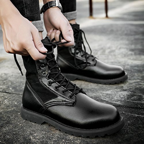 Jitong Herren Schnürstiefel Kunstleder Einsatzstiefel Tactical Boots Komfortabel Stiefelette Winterschuhe Schwarz