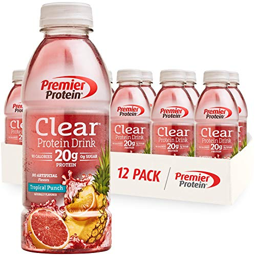 Premier Protein Clear Drink, Tropical Punch, 20g Protein, 0g Sugar, 1g Carb, 90 calories, Keto Friendly, Gluten Free, No…