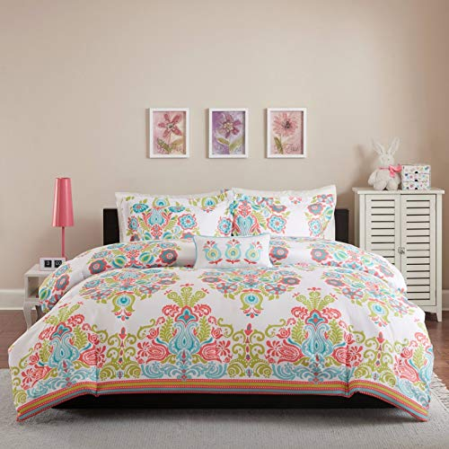 Tuweep Beautiful Modern Chic Coral Teal Aqua Blue Green Girls Bohemian Comforter Set ~ | Collection COMF-18205074