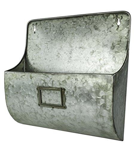 - Galvanized Metal Hanging Wall Pocket Mailbox Storage Basket