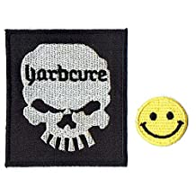 """""""YARBCURE : HARDCORE thermocollant"""" Applique embroidered iron on PATCHES with Yellow Tiny Smiley Patches by PATCH CUBE"""