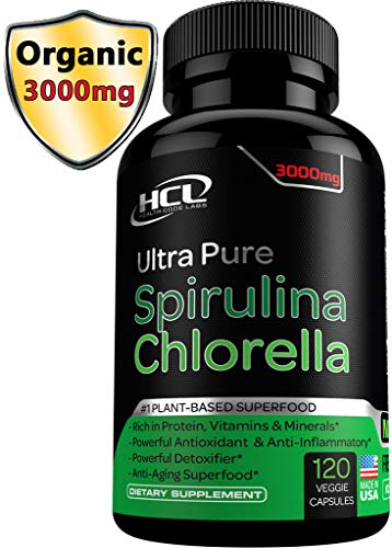 Chlorella Spirulina Powder Capsules Organic- Purest Non-Irradiated Blue Green Algae Tablets - Best Raw Vegan Protein Green Superfood Broken Cell Wall – Made in ()