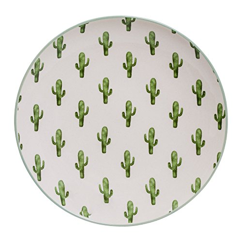 - Bloomingville Round Ceramic Jade Plate with Cactus (Set of 4 Colors)