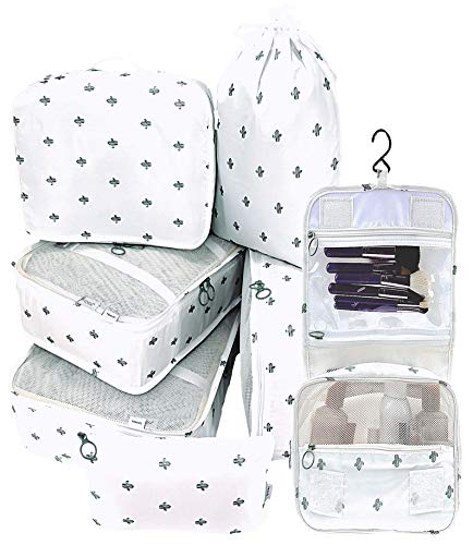 Packing Cubes Backpack Organizers Set for Carry on Travel Bag Luggage Cube (Cactus 6+1)
