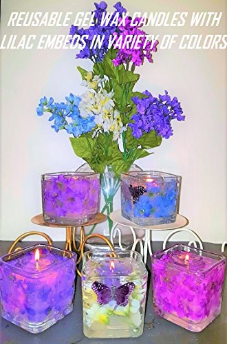 Gel Candle Embeds - Reusable Gel Wax Candles with Lilac & Butterfly in Embeds in Variety of Colors
