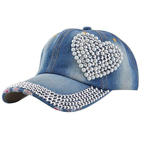 Egoodbest Women Loving Heart Bling Rhinestone Sport Jeans Baseball Golf Cap Hat