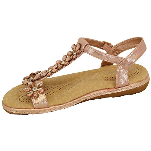 Champagne Flowers Summer Fashion MCM Shoes 759730 Open Rhinestone Toe Flat Sandals New Gold Ladies Womens rRvS7r