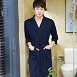 MH-RITA Long Spring and Summer Bathrobe Bathrobe Seven Men Sleeve Couple Thin Nightgown Temperament Pajamas in Autumn XL [Appropriate 165-178Cm Less Than 160 pounds] Navy Blue - [Male]