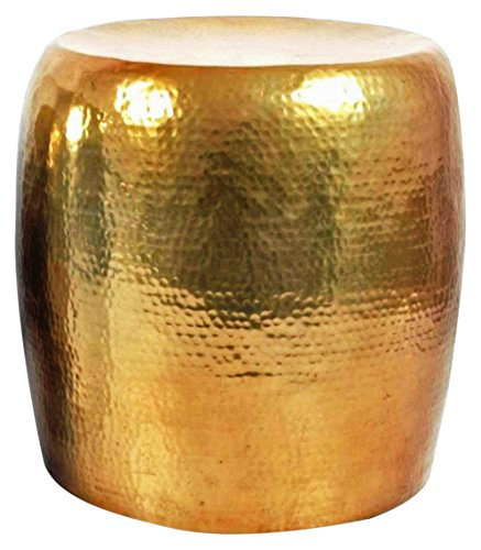 Brass Side Table (Madhu's COLLECTION Hammered Stool Brass/Side Table, Antique Hammered)