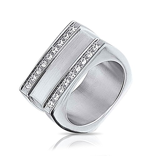 Bling Jewelry Geometric Square Grooved 2 Row CZ Stainless Steel Mens Ring,9 ()