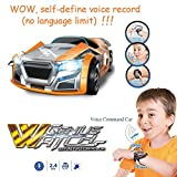 DIYI Model D10 Unique Voice Command Control RC Toy Car Rechargeable 2.4Ghz 6CH Smart Wrist Watch Radio Control Creative Voice Activated Racing Cars Remote Control Vehicles Child Christmas (Orange)