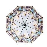 Western Style Vintage Sun And Rain Umbrella Anti-UV 3 Folding Umbrella [ Swan Lake ]