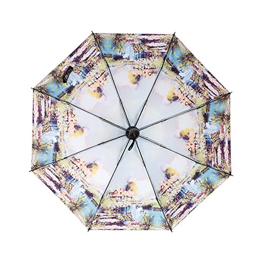 Western Style Vintage Sun And Rain Umbrella Anti-UV 3 Folding Umbrella [ Swan Lake ] by Lanburch