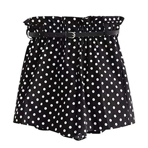 Mikey Store Women Retro Dot Print Casual Fit Pocket Shorts Pants with Belt