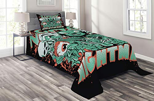 Ambesonne Zombie Coverlet Set Twin Size, Retro Style Nightmare with Skulls Ghost Characters Wild Illustration, 2 Piece Decorative Quilted Bedspread with 1 Pillow Sham, Jade Green Salmon Black -