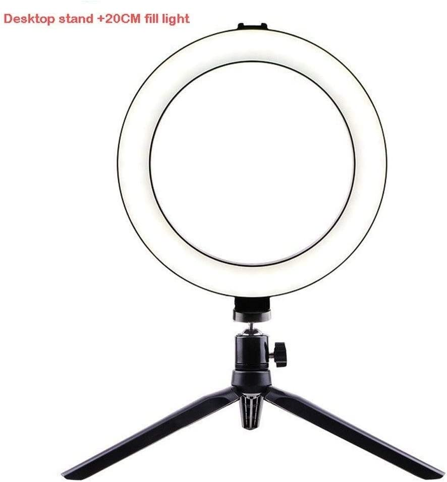 Size : B SUYIDAN Ring Light 20CM Desktop//Floor Stand Ring Light USB Power Supply 3 Light Mode Fill Light Anchor Selfie Beauty Light Ringlight