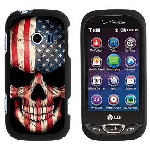 TurtleArmor | LG Extravert 2 Case | VN280 [Slim Duo] Two Piece Hard Cover Slim Snap On Case on Black - US Flag Skull (Black Skull Hard Case)