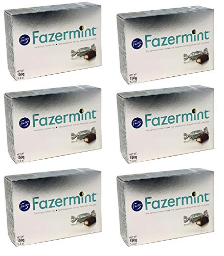 Fazermint Dark Chocolate Fazor Mints with a Soft Peppermint Filling - Candy from Finland 5.3 Ounce - Pack of 6