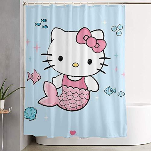 Stylish Shower Curtain Hello Kitty Mermaid Printing Waterproof Bathroom Curtain 60 X 72 Inches