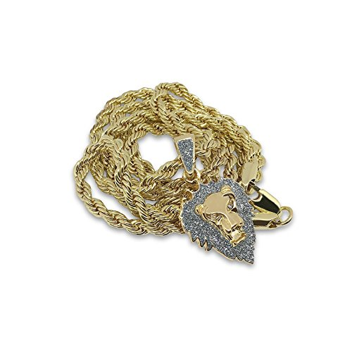 Bling King Gold Plated Stainless Steel Lion Face Mane Hip Hop Bling Pendant Chain (Mane Bling)