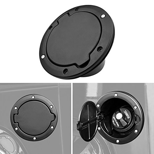 Allinoneparts Powder Coated Black Steel Gas Fuel Tank Gas Cap Cover for 2007-2017 Jeep Wrangler Accessories JK & Unlimited Sport Rubicon Sahara