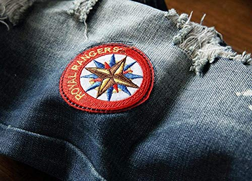 Con Denim Casual Uomo Skinny Alta Strappata Diritti Jeans Blu Senza Da Haidean Pantaloni Moderna In A Elasticizzati Apertura Vita qwYzXgTS