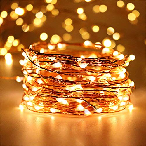 LED String Lights Battery Powered 50 LED 16.4Ft Fairy, Warm White Firefly Starry Lights with Remote Control, Waterproof Copper Wire Decorative String Lights for Bedroom, Christmas, House & Yard
