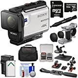 Sony Action Cam FDR-X3000 Wi-Fi GPS 4K HD Video Camera Camcorder Finger Grip + Suction Cup + Helmet Mount + 64GB Card + Battery & Charger + Case + Kit