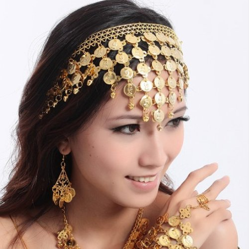 New Belly Dance Hair Accessories Hair Hoop Headband Performances Headpiece Jewellery Party Accessories(Gold (Headpieces For Dance Costumes)